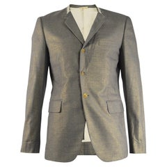 Comme Des Garcons Men's Deconstructed Grey Wool with Gold Lurex Blazer