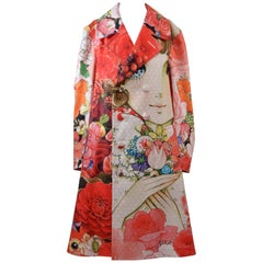 Comme Des Garcons Multicolor Twill Anime Girl Coat  NEW With Tags SZ M