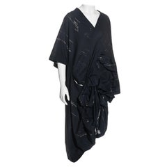Comme des Garcons navy blue cotton gathered tunic-style dress, ss 1984