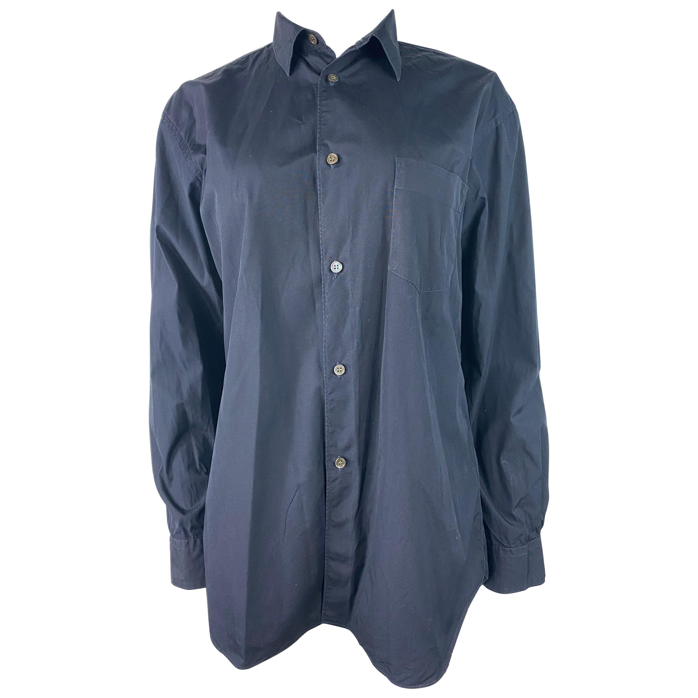 Comme des Garcons Navy Cotton Button Down Shirt Blouse, Size Large