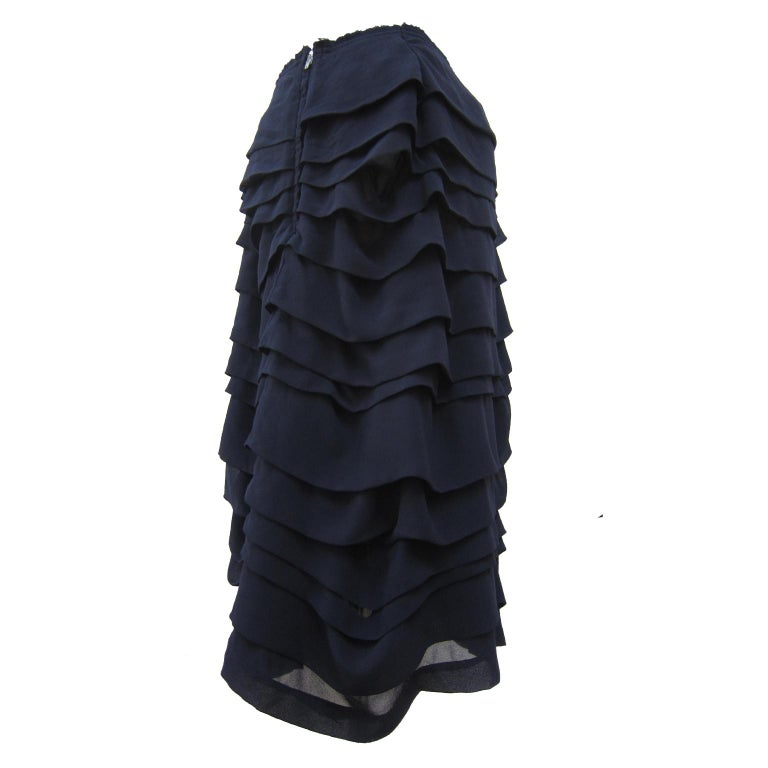 Black Comme des Garcons Navy Ruffle Layered Skirt AD 2004 For Sale