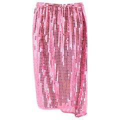 Comme des Garçons Pink Sequin Asymmetric Skirt M