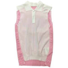 Comme des Garcons Pink & White Tank Blouse AD 2005