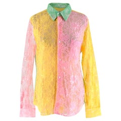 Comme des Garcons Pink Yellow & Green Lace Sheer Blouse - Size Estimated M