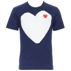 COMME DES GARCONS PLAY navy white heart print short sleeve t-shirt S