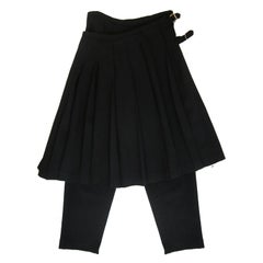 Comme des Garcons Pleated Skirt Pant  Black Wool AD 1998
