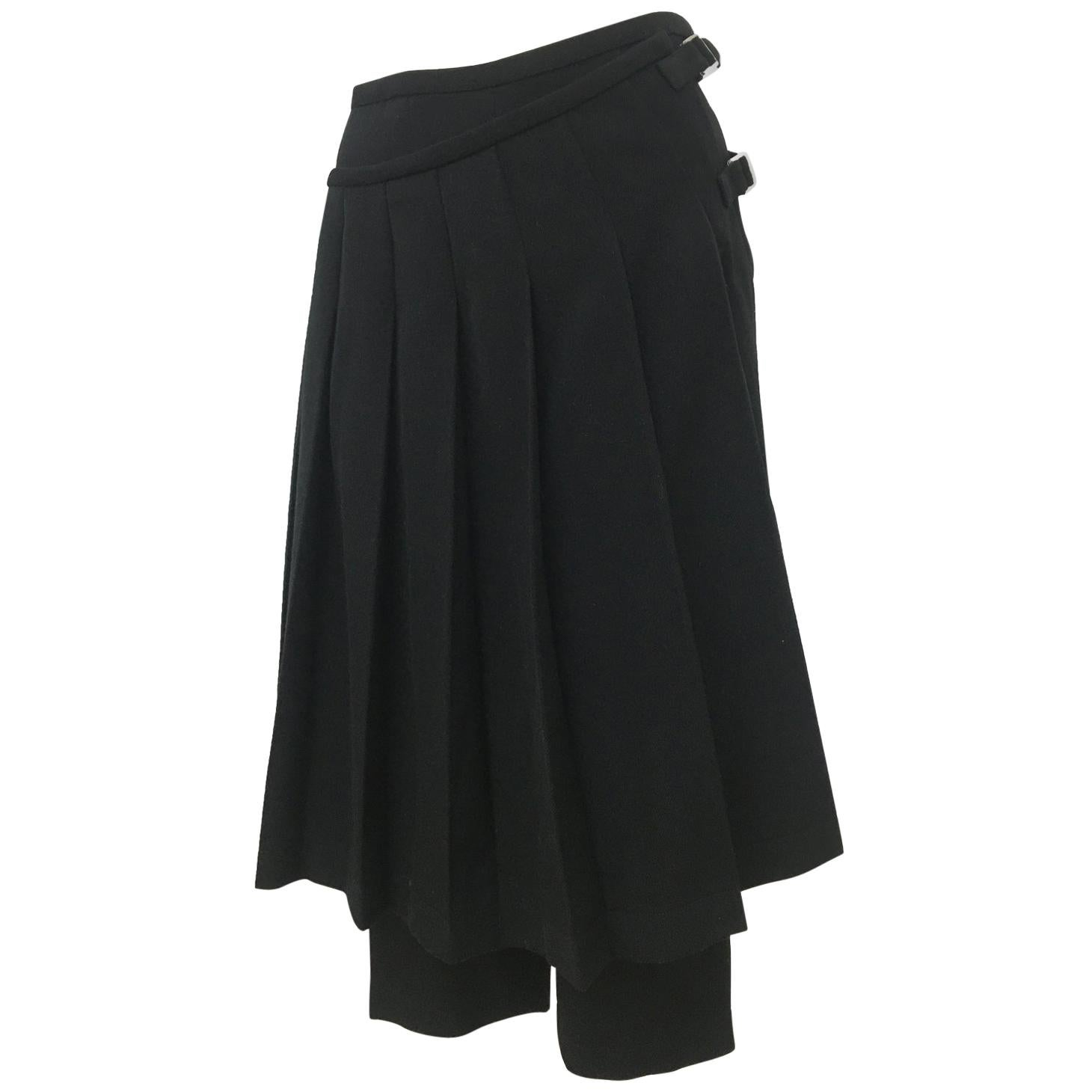 Comme des Garcons Pleated Skirt Pants Black Wool AD 1998