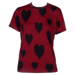 Comme des Garçons Red T-shirt with Black Dots and Hearts, 2008
