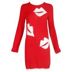 Comme des Garcons Red Wool Sweater Dress w/Transparent Lip Motif 2008