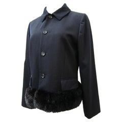 Comme des Garcons robe de chambre Black Faux Fur Detail Jacket AD 1997