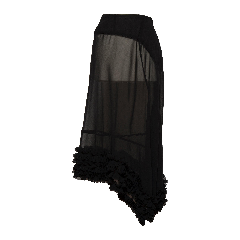 Comme des Garcons Ruffle Black Sheer Skirt AD1998