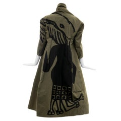 Comme des Garcons Runway Olive Green Black Printed Back Cotton Coat, Fall 2009