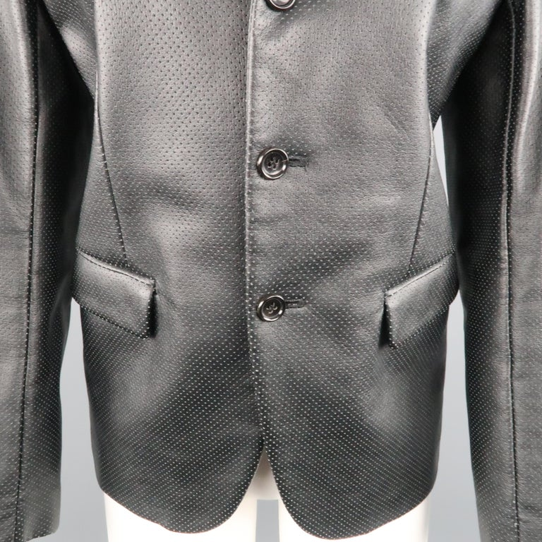 COMME des GARCONS S Black Perforated Faux Leather Notch Lapel Blazer In Excellent Condition For Sale In San Francisco, CA