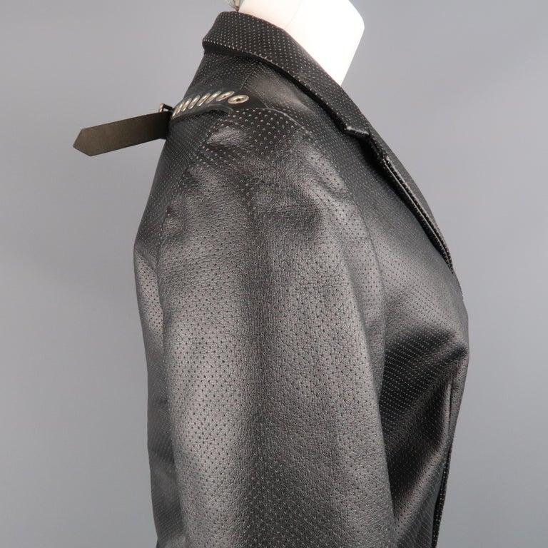 Women's COMME des GARCONS S Black Perforated Faux Leather Notch Lapel Blazer For Sale