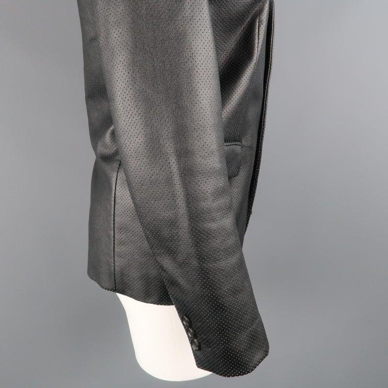 COMME des GARCONS S Black Perforated Faux Leather Notch Lapel Blazer For Sale 1