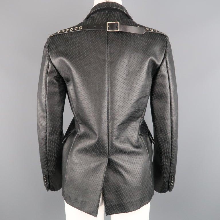 COMME des GARCONS S Black Perforated Faux Leather Notch Lapel Blazer For Sale 2