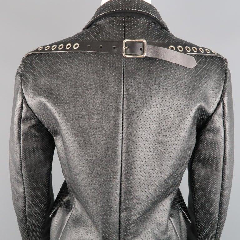 COMME des GARCONS S Black Perforated Faux Leather Notch Lapel Blazer For Sale 3