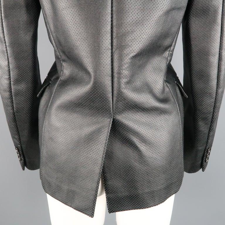 COMME des GARCONS S Black Perforated Faux Leather Notch Lapel Blazer For Sale 4