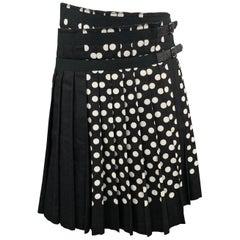 COMME des GARCONS S Black & White Polka Dot Pleated Leather Strap Kilt