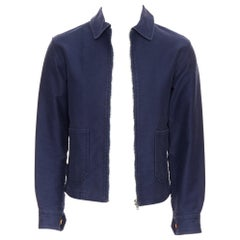 COMME DES GARCONS SHIRT navy blue washed cotton zip front worker jacket XS