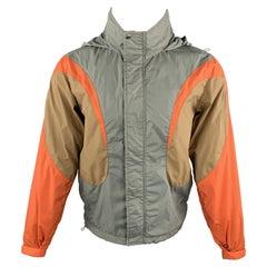 COMME des GARCONS SHIRT S Gray & Brown Color Block Full Zip Windbreaker Jacket