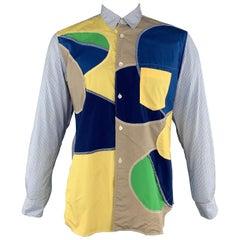 COMME des GARCONS SHIRT Size L Blue Patchwork Cotton Button Up Long Sleeve Shirt
