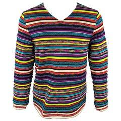 COMME des GARCONS SHIRT Size L Multi-Color Stripe Polyester Blend Pullover