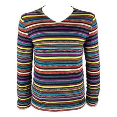 COMME des GARCONS SHIRT Size L Multi-Color Stripe Polyester Blend Pullover