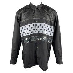 COMME des GARCONS SHIRT Size M Black & Grey Polka Dot Floral Stripe Patchwork Sh