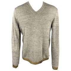 COMME des GARCONS SHIRT Size M Grey & Gold Knitted Linen V-Neck Pullover