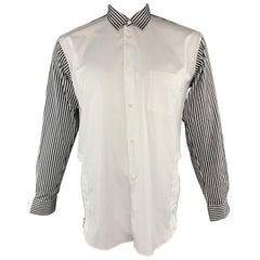 COMME des GARCONS SHIRT Size M White & Black Cotton Long Sleeve Shirt