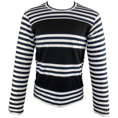 COMME des GARCONS SHIRT Size S Navy Black & White Striped Long Sleeve T-shirt