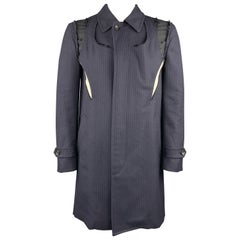 Women's COMME des GARCONS Size L Navy & Black Wool Coat