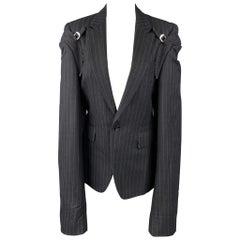 COMME des GARCONS Size M Navy Chalk Stripe Wool Double Sleeve Peak Lapel Jacket
