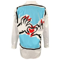 COMME des GARCONS Size One Size White Graphic Cotton Button Up Long Sleeve Shirt