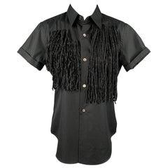 COMME des GARCONS Size S Black Poplin Cotton Fringe Blouse
