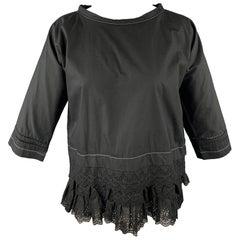 COMME des GARCONS Size S Black Poplin Eyelet Cotton Blouse