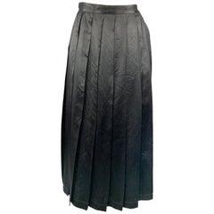 COMME des GARCONS Size S Black Satin Box Pleat A Line Skirt