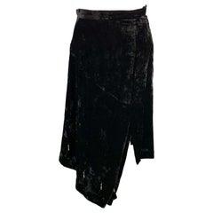 COMME des GARCONS Size S Black Velvet Asymmetrical Hem Black Beads Skirt