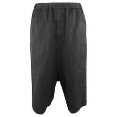 COMME des GARCONS Size XXS Black Floral Textured Drop Crotch Cropped Pants
