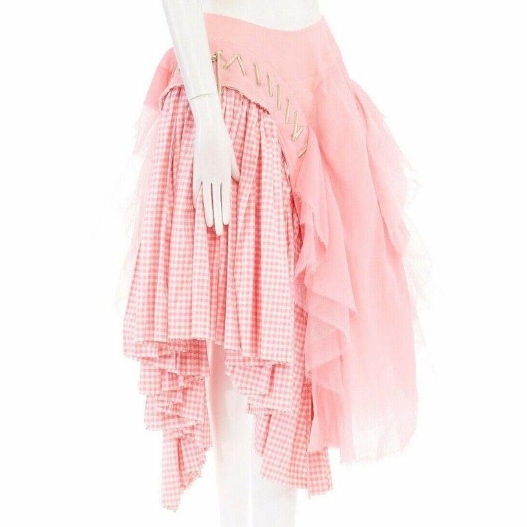 Pink COMME DES GARCONS SS05 Punk Ballerina pink overstitched gingham tulle skirt M For Sale