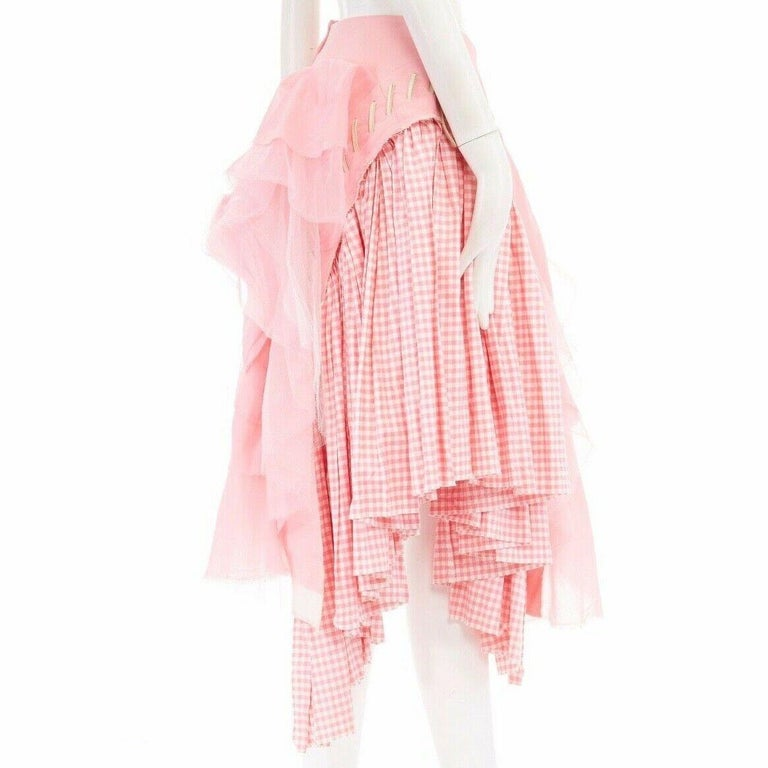 COMME DES GARCONS SS05 Punk Ballerina pink overstitched gingham tulle skirt M In Good Condition For Sale In Hong Kong, NT