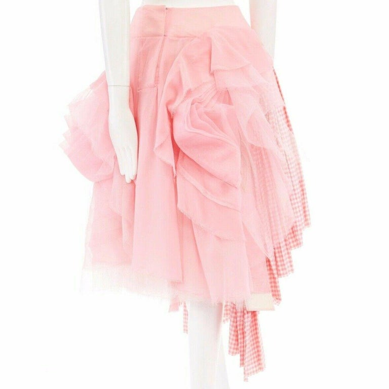 Women's or Men's COMME DES GARCONS SS05 Punk Ballerina pink overstitched gingham tulle skirt M For Sale