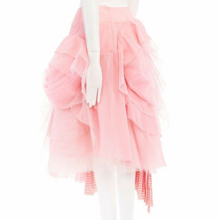 COMME DES GARCONS SS05 Punk Ballerina pink overstitched gingham tulle skirt M For Sale 1