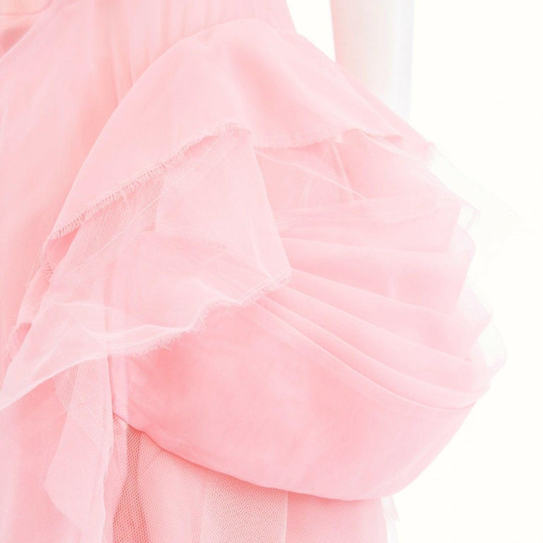 COMME DES GARCONS SS05 Punk Ballerina pink overstitched gingham tulle skirt M For Sale 3