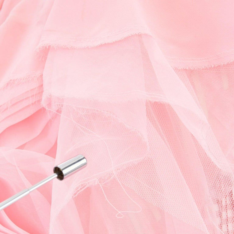 COMME DES GARCONS SS05 Punk Ballerina pink overstitched gingham tulle skirt M For Sale 4