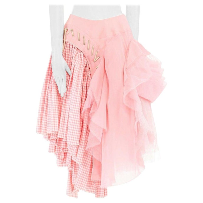 COMME DES GARCONS SS05 Punk Ballerina pink overstitched gingham tulle skirt M For Sale