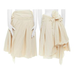 COMME DES GARCONS SS2006 beige cotton pleated bow bustle layered skirt S 27""