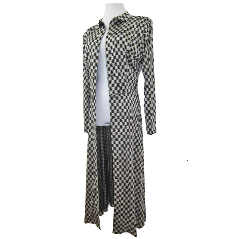 Gray Comme des Garcons Tricot Black White Dress Coat Early 1980s  For Sale