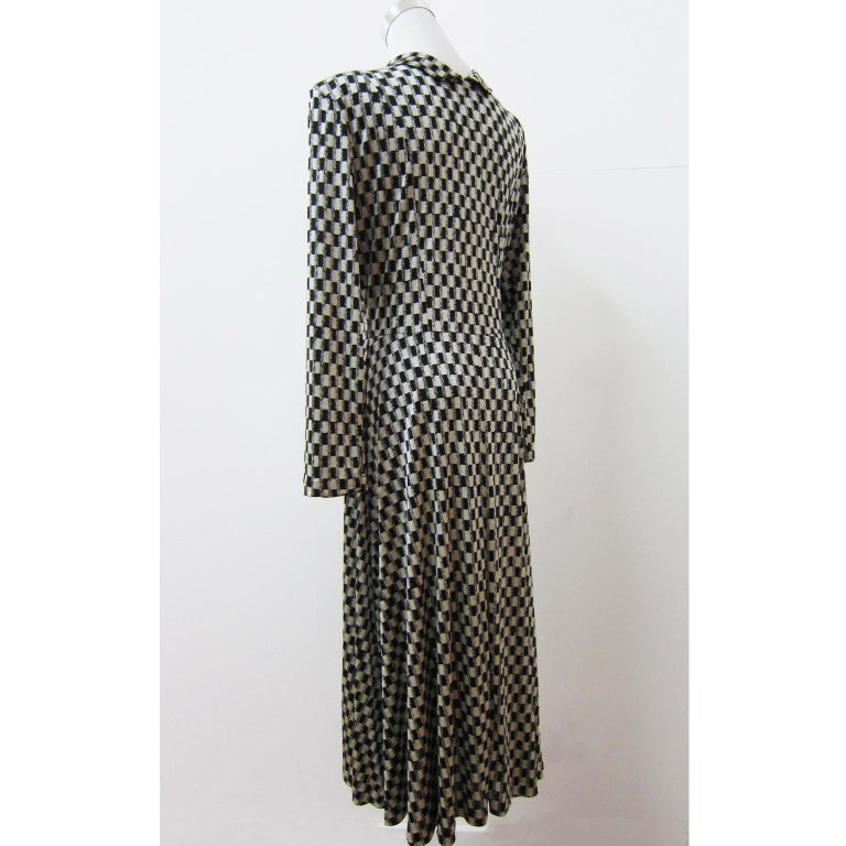 Comme des Garcons Tricot Black White Dress Coat Early 1980s  In Good Condition For Sale In Berlin, DE
